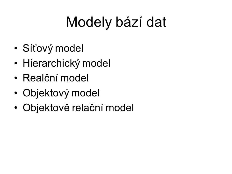 Modely bází dat Síťový model Hierarchický model Realční model Objektový model Objektově relační model