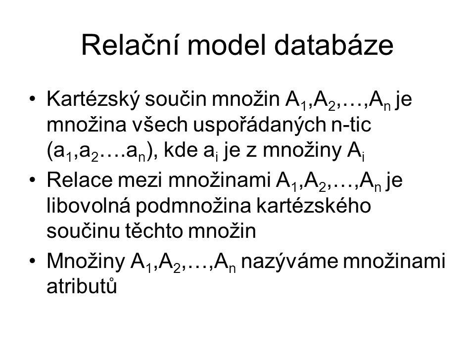 Relační model databáze Kartézský součin množin A 1,A 2,…,A n je množina všech uspořádaných n-tic (a 1,a 2 ….a n ), kde a i je z množiny A i Relace mezi množinami A 1,A 2,…,A n je libovolná podmnožina kartézského součinu těchto množin Množiny A 1,A 2,…,A n nazýváme množinami atributů