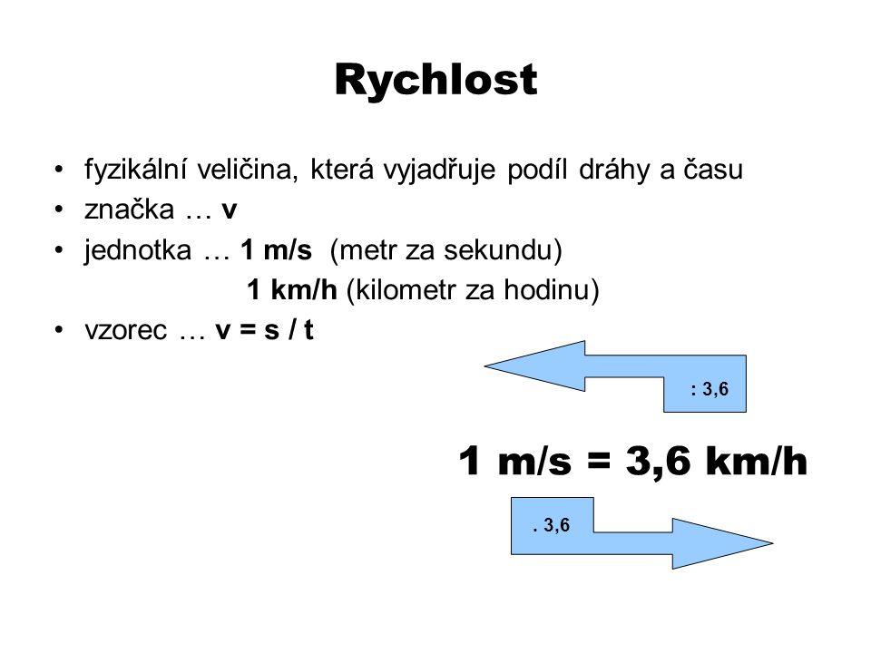 Rychlost fyzikální veličina, která vyjadřuje podíl dráhy a času značka … v jednotka … 1 m/s (metr za sekundu) 1 km/h (kilometr za hodinu) vzorec … v = s / t 1 m/s = 3,6 km/h.