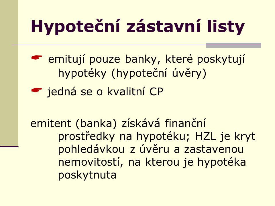 Hypoteční zástavní listy  emitují pouze banky, které poskytují hypotéky (hypoteční úvěry)  jedná se o kvalitní CP emitent (banka) získává finanční prostředky na hypotéku; HZL je kryt pohledávkou z úvěru a zastavenou nemovitostí, na kterou je hypotéka poskytnuta