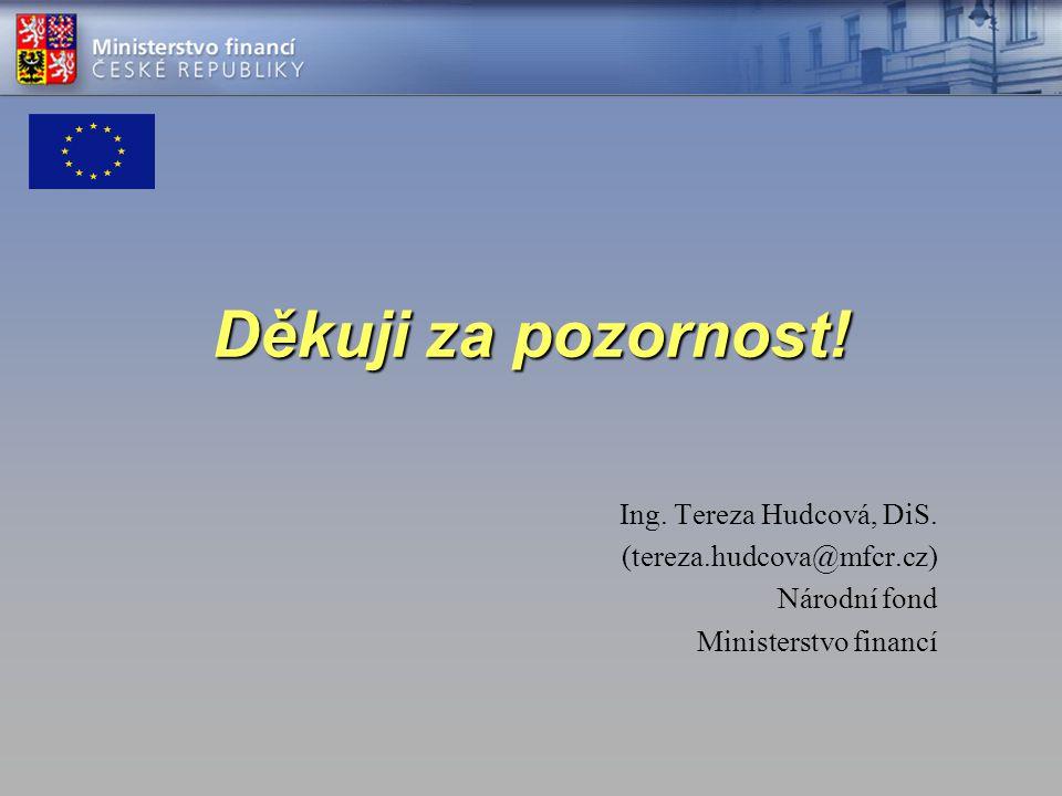 Děkuji za pozornost! Ing. Tereza Hudcová, DiS. (tereza.hudcova@mfcr.cz) Národní fond Ministerstvo financí