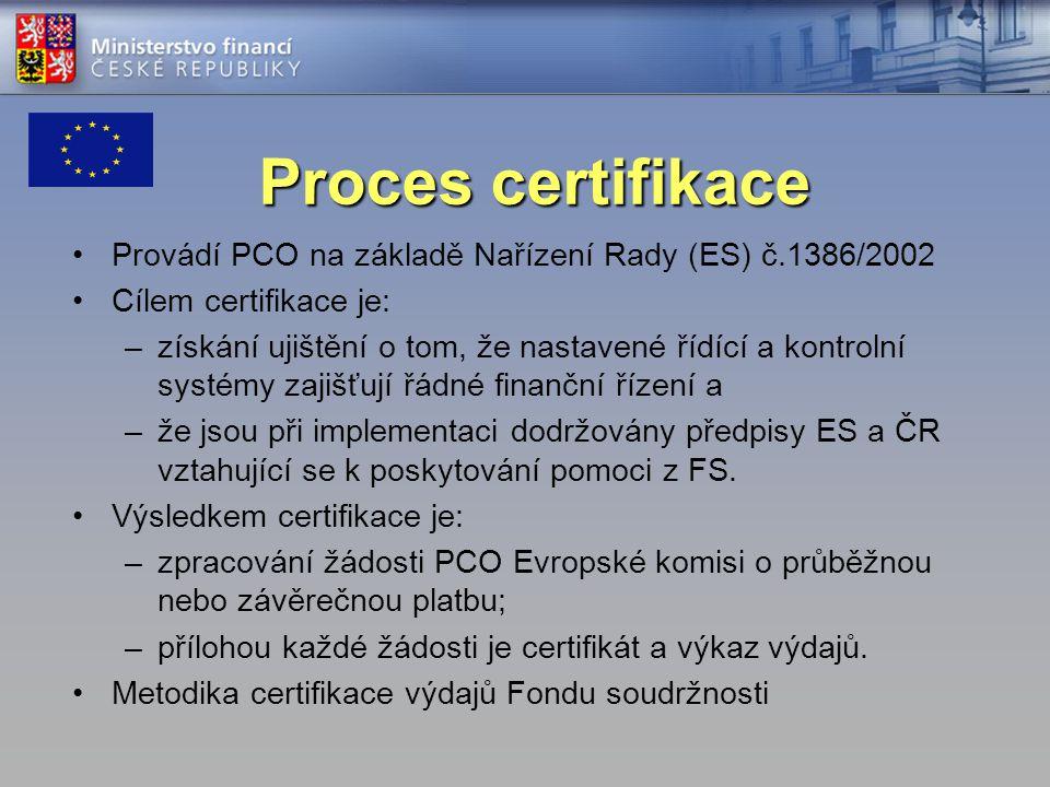 Proces certifikace Provádí PCO na základě Nařízení Rady (ES) č.1386/2002 Cílem certifikace je: –získání ujištění o tom, že nastavené řídící a kontrolní systémy zajišťují řádné finanční řízení a –že jsou při implementaci dodržovány předpisy ES a ČR vztahující se k poskytování pomoci z FS.
