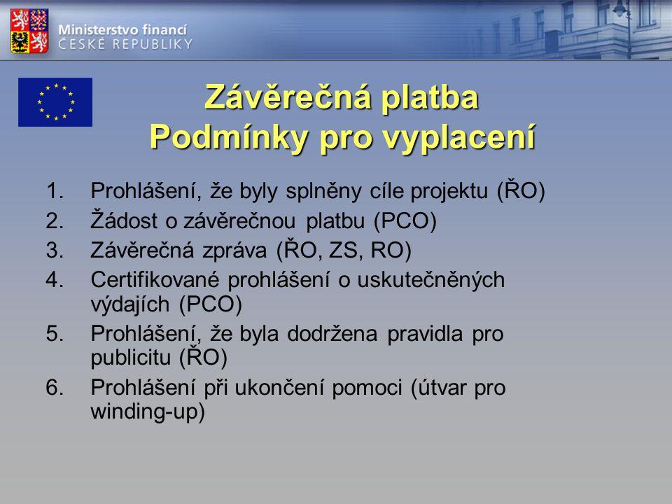Závěrečná platba Podmínky pro vyplacení 1.Prohlášení, že byly splněny cíle projektu (ŘO) 2.Žádost o závěrečnou platbu (PCO) 3.Závěrečná zpráva (ŘO, ZS, RO) 4.Certifikované prohlášení o uskutečněných výdajích (PCO) 5.Prohlášení, že byla dodržena pravidla pro publicitu (ŘO) 6.Prohlášení při ukončení pomoci (útvar pro winding-up)