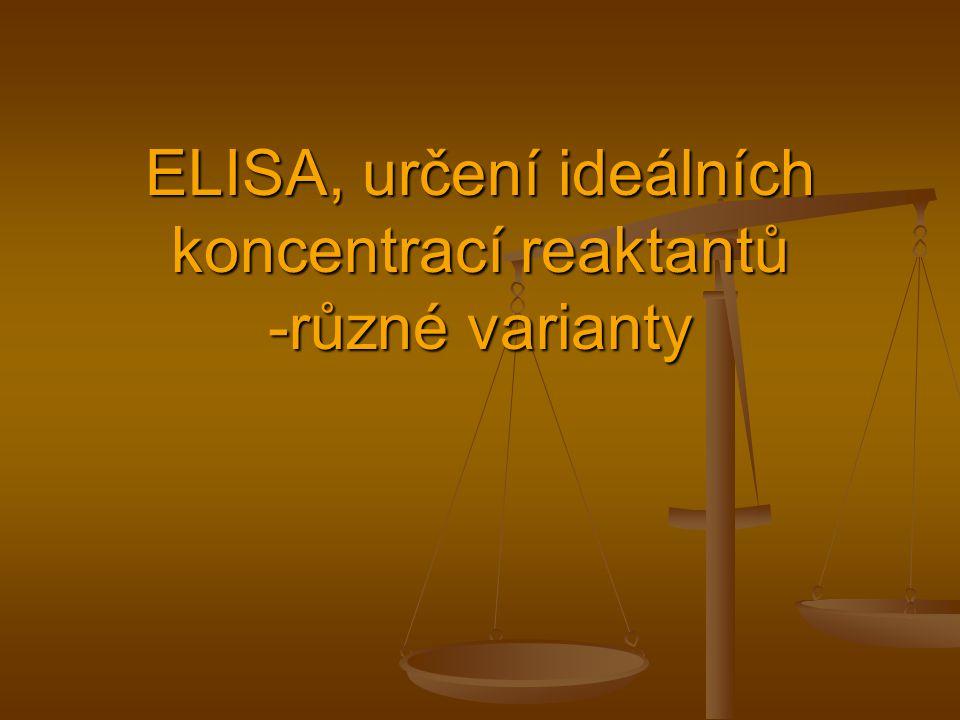 ELISA, určení ideálních koncentrací reaktantů -různé varianty