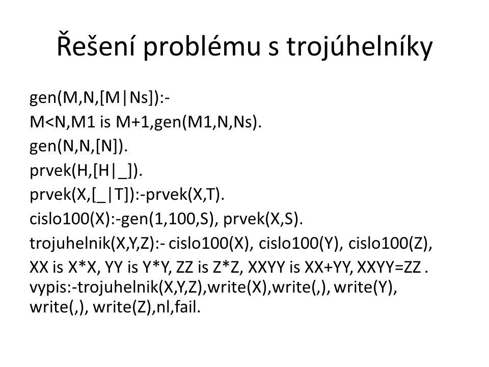 Řešení problému s trojúhelníky gen(M,N,[M|Ns]):- M<N,M1 is M+1,gen(M1,N,Ns). gen(N,N,[N]). prvek(H,[H|_]). prvek(X,[_|T]):-prvek(X,T). cislo100(X):-ge
