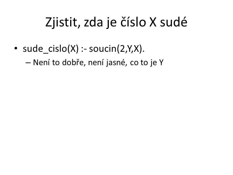 Zjistit, zda je číslo X sudé sude_cislo(X) :- soucin(2,Y,X). – Není to dobře, není jasné, co to je Y