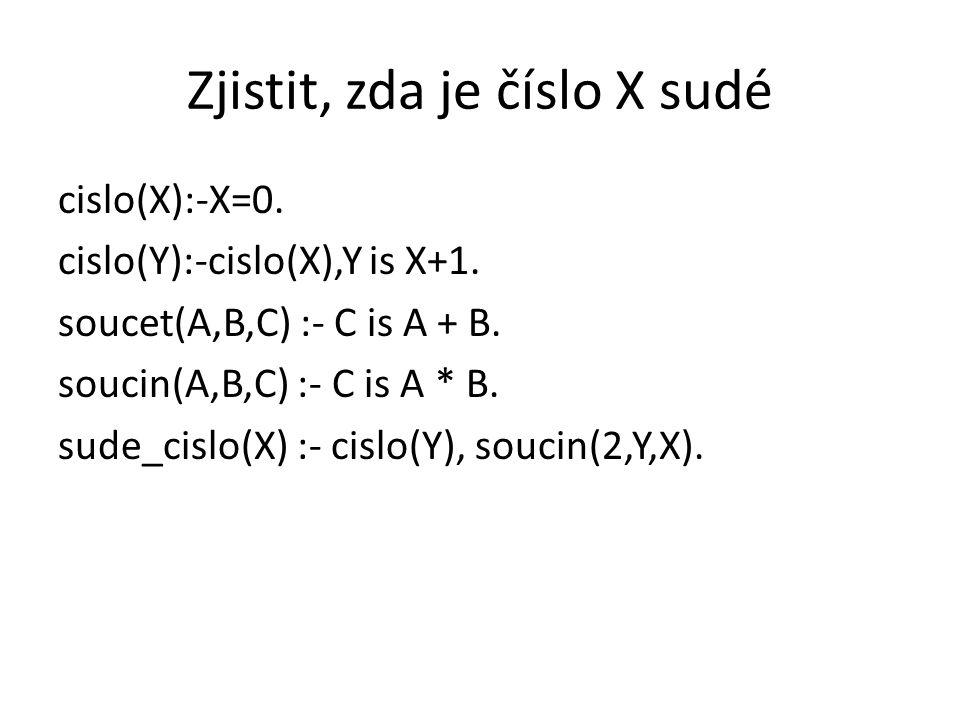 Zjistit, zda je číslo X sudé cislo(X):-X=0. cislo(Y):-cislo(X),Y is X+1. soucet(A,B,C) :- C is A + B. soucin(A,B,C) :- C is A * B. sude_cislo(X) :- ci