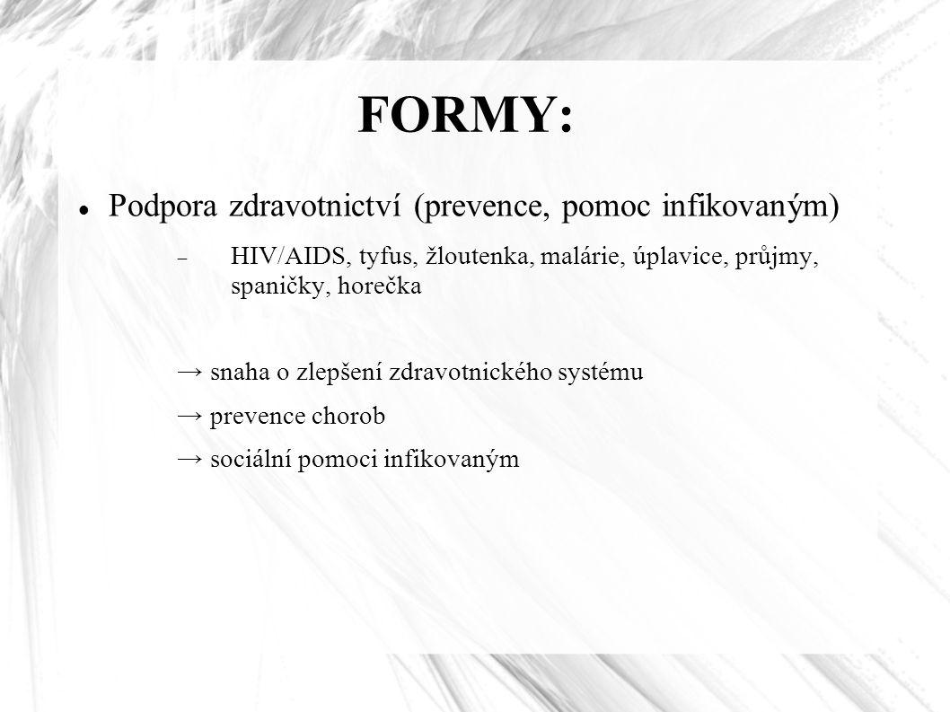 FORMY: Podpora zdravotnictví (prevence, pomoc infikovaným)  HIV/AIDS, tyfus, žloutenka, malárie, úplavice, průjmy, spaničky, horečka → snaha o zlepšení zdravotnického systému → prevence chorob → sociální pomoci infikovaným