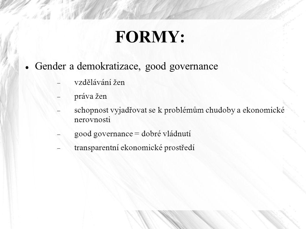 FORMY: Gender a demokratizace, good governance  vzdělávání žen  práva žen  schopnost vyjadřovat se k problémům chudoby a ekonomické nerovnosti  good governance = dobré vládnutí  transparentní ekonomické prostředí