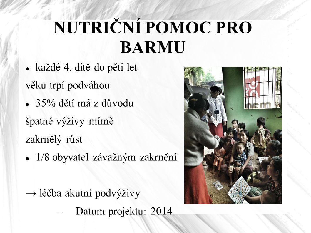 NUTRIČNÍ POMOC PRO BARMU každé 4. dítě do pěti let věku trpí podváhou 35% dětí má z důvodu špatné výživy mírně zakrnělý růst 1/8 obyvatel závažným zak