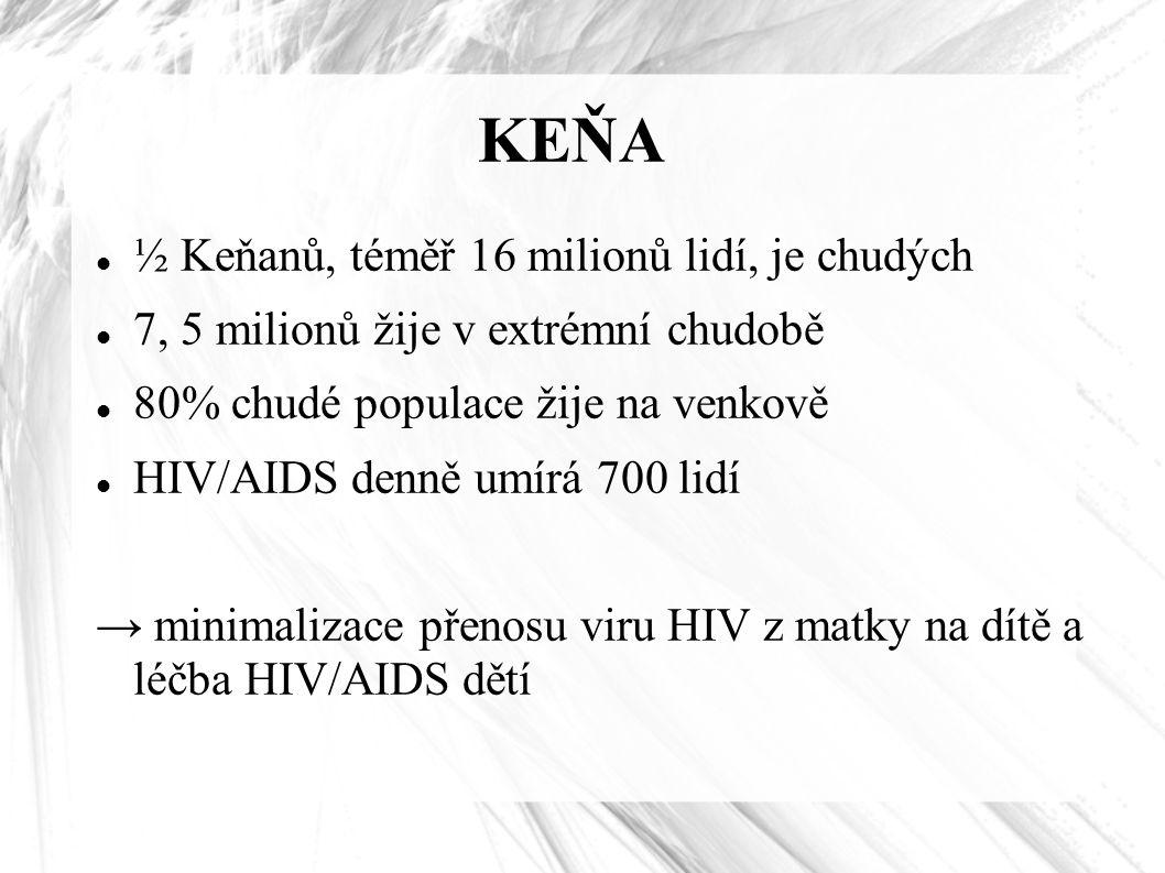 KEŇA ½ Keňanů, téměř 16 milionů lidí, je chudých 7, 5 milionů žije v extrémní chudobě 80% chudé populace žije na venkově HIV/AIDS denně umírá 700 lidí → minimalizace přenosu viru HIV z matky na dítě a léčba HIV/AIDS dětí