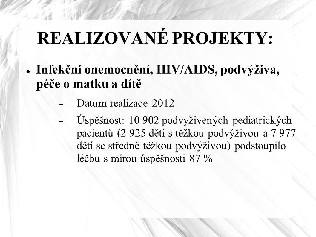 REALIZOVANÉ PROJEKTY: Infekční onemocnění, HIV/AIDS, podvýživa, péče o matku a dítě  Datum realizace 2012  Úspěšnost: 10 902 podvyživených pediatric