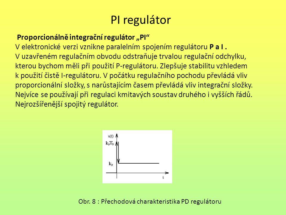 """PI regulátor Proporcionálně integrační regulátor """"PI"""" V elektronické verzi vznikne paralelním spojením regulátoru P a I. V uzavřeném regulačním obvodu"""