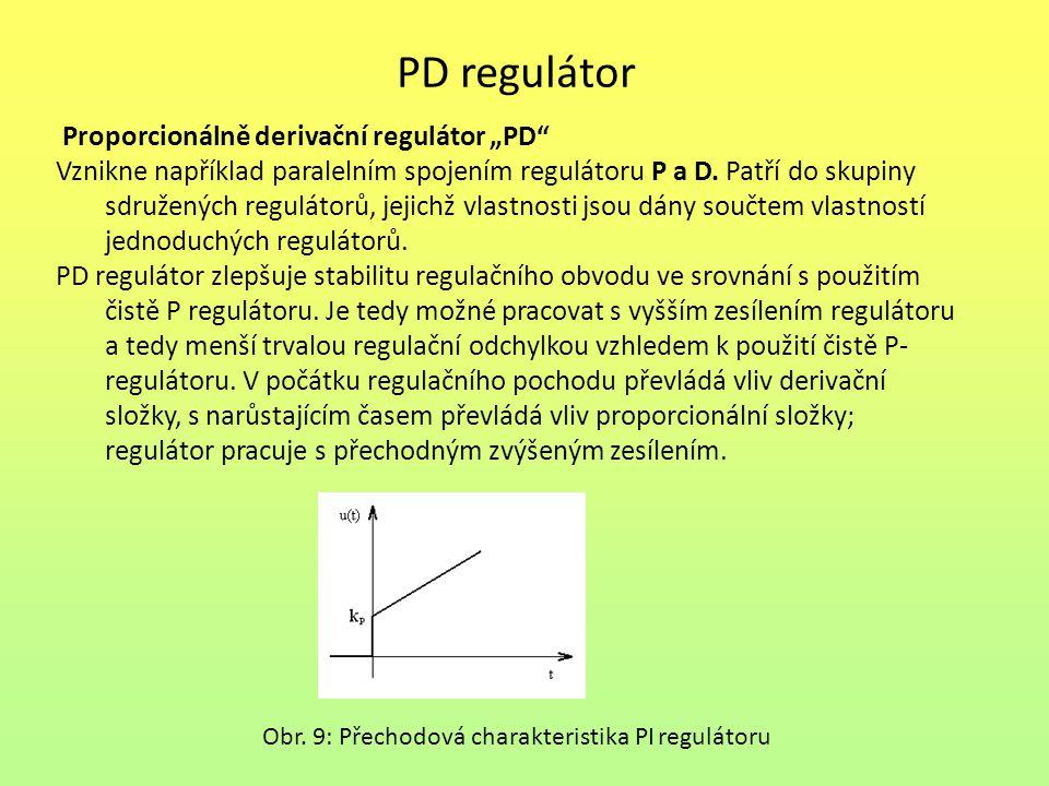 """PD regulátor Proporcionálně derivační regulátor """"PD"""" Vznikne například paralelním spojením regulátoru P a D. Patří do skupiny sdružených regulátorů, j"""