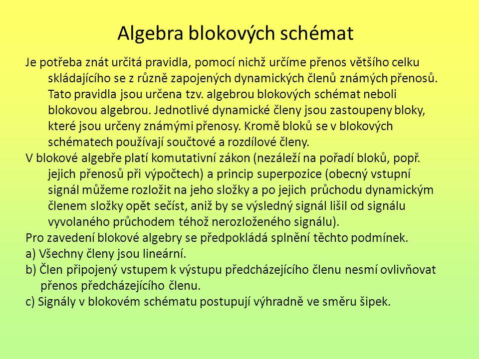 Algebra blokových schémat Je potřeba znát určitá pravidla, pomocí nichž určíme přenos většího celku skládajícího se z různě zapojených dynamických čle