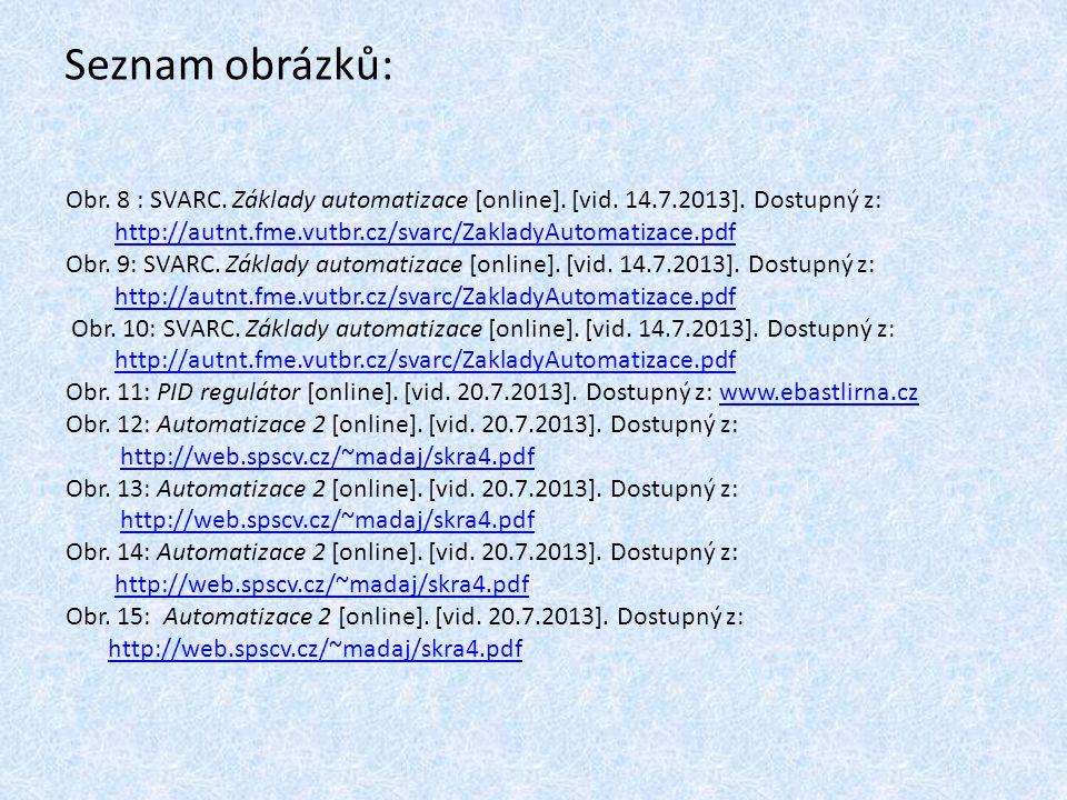 Seznam obrázků: Obr. 8 : SVARC. Základy automatizace [online]. [vid. 14.7.2013]. Dostupný z: http://autnt.fme.vutbr.cz/svarc/ZakladyAutomatizace.pdf O