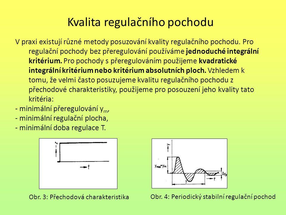 Kvalita regulačního pochodu V praxi existují různé metody posuzování kvality regulačního pochodu. Pro regulační pochody bez přeregulování používáme je