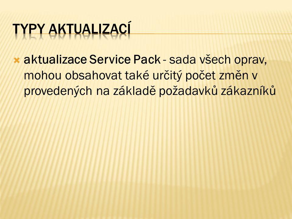  aktualizace Service Pack - sada všech oprav, mohou obsahovat také určitý počet změn v provedených na základě požadavků zákazníků