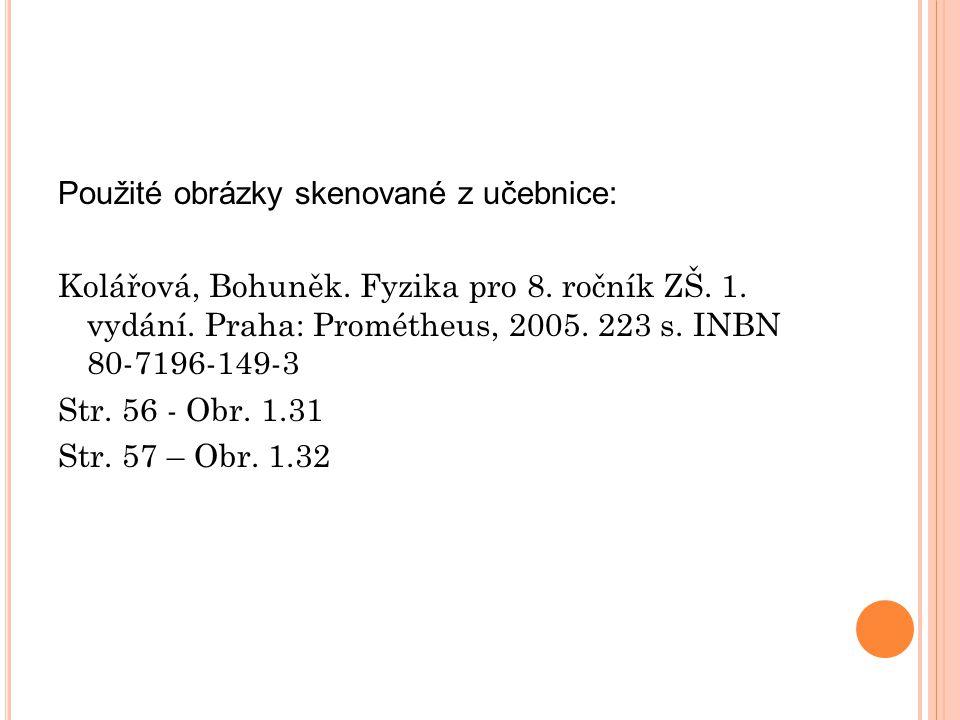Použité obrázky skenované z učebnice: Kolářová, Bohuněk. Fyzika pro 8. ročník ZŠ. 1. vydání. Praha: Prométheus, 2005. 223 s. INBN 80-7196-149-3 Str. 5