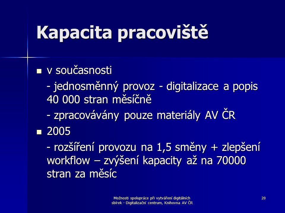 Možnosti spolupráce při vytváření digitálních sbírek - Digitalizační centrum, Knihovna AV ČR 20 Kapacita pracoviště v současnosti v současnosti - jednosměnný provoz - digitalizace a popis 40 000 stran měsíčně - jednosměnný provoz - digitalizace a popis 40 000 stran měsíčně - zpracovávány pouze materiály AV ČR - zpracovávány pouze materiály AV ČR 2005 2005 - rozšíření provozu na 1,5 směny + zlepšení workflow – zvýšení kapacity až na 70000 stran za měsíc - rozšíření provozu na 1,5 směny + zlepšení workflow – zvýšení kapacity až na 70000 stran za měsíc