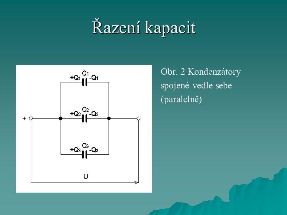 Řazení kapacit Obr. 2 Kondenzátory spojené vedle sebe (paralelně)