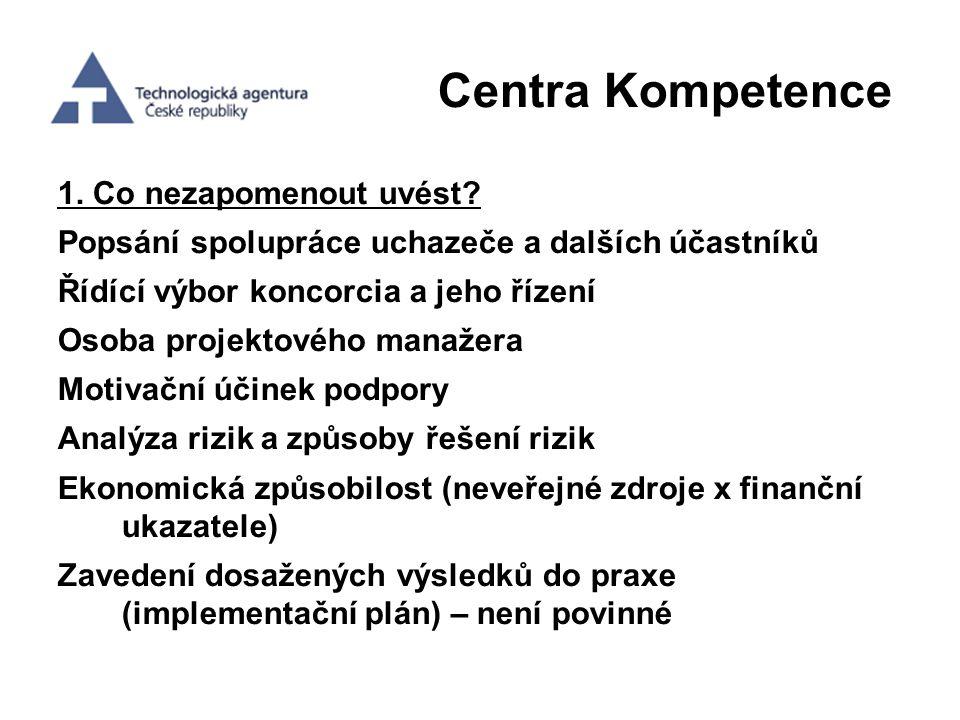 Centra Kompetence 1. Co nezapomenout uvést? Popsání spolupráce uchazeče a dalších účastníků Řídící výbor koncorcia a jeho řízení Osoba projektového ma