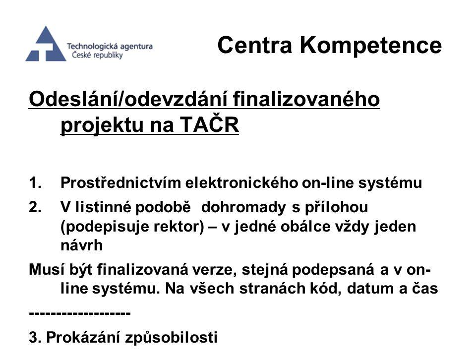 Centra Kompetence Odeslání/odevzdání finalizovaného projektu na TAČR 1.Prostřednictvím elektronického on-line systému 2.V listinné podobě dohromady s
