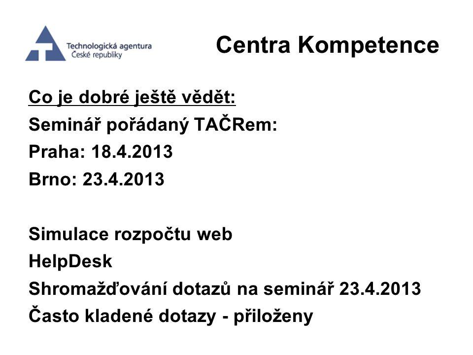 Centra Kompetence Co je dobré ještě vědět: Seminář pořádaný TAČRem: Praha: 18.4.2013 Brno: 23.4.2013 Simulace rozpočtu web HelpDesk Shromažďování dota