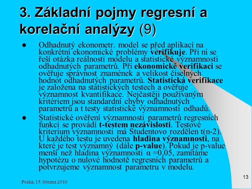 Praha, 15.března 2010 13 3. Základní pojmy regresní a korelační analýzy (9) Odhadnutý ekonometr.