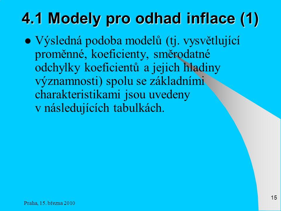 Praha, 15.března 2010 15 4.1 Modely pro odhad inflace (1) Výsledná podoba modelů (tj.