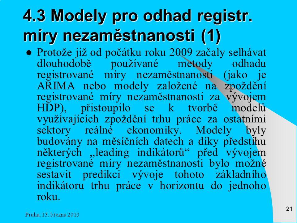 Praha, 15.března 2010 21 4.3 Modely pro odhad registr.