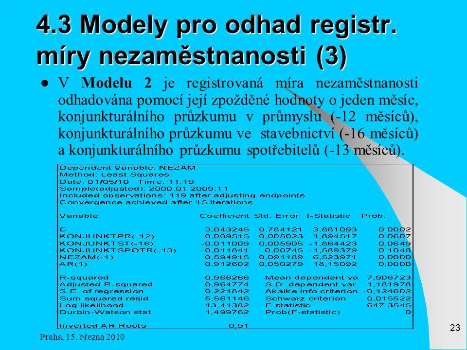 Praha, 15.března 2010 23 4.3 Modely pro odhad registr.