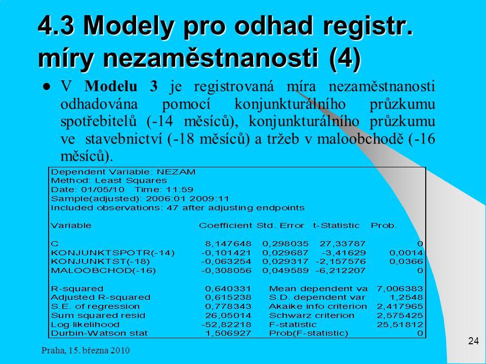 Praha, 15.března 2010 24 4.3 Modely pro odhad registr.