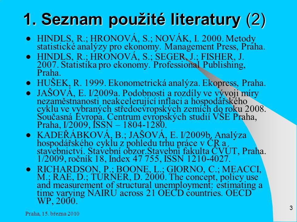 Praha, 15.března 2010 3 1. Seznam použité literatury (2) HINDLS, R.; HRONOVÁ, S.; NOVÁK, I.