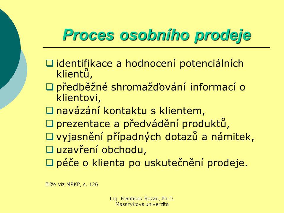 Ing. František Řezáč, Ph.D. Masarykova univerzita Proces osobního prodeje  identifikace a hodnocení potenciálních klientů,  předběžné shromažďování