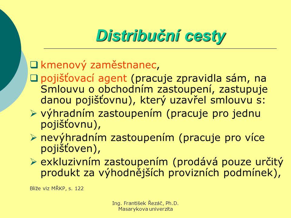 Ing. František Řezáč, Ph.D. Masarykova univerzita Distribuční cesty  kmenový zaměstnanec,  pojišťovací agent (pracuje zpravidla sám, na Smlouvu o ob