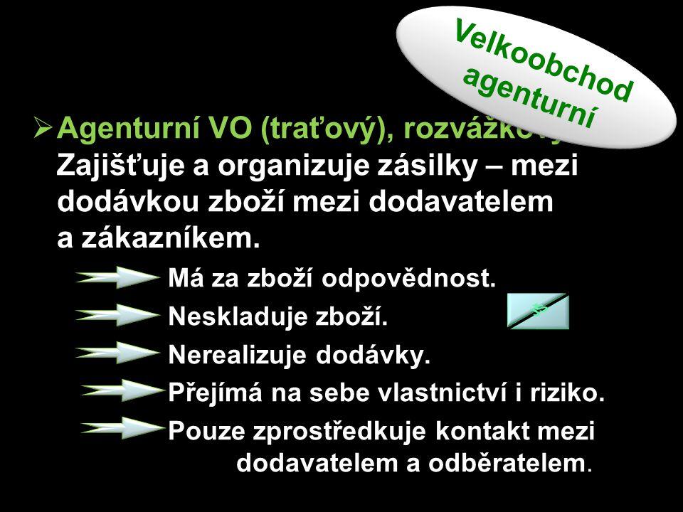  Agenturní VO (traťový), rozvážkový Zajišťuje a organizuje zásilky – mezi dodávkou zboží mezi dodavatelem a zákazníkem. Má za zboží odpovědnost. Nesk