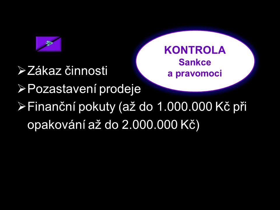 ZZákaz činnosti PPozastavení prodeje FFinanční pokuty (až do 1.000.000 Kč při opakování až do 2.000.000 Kč) KONTROLA Sankce a pravomoci