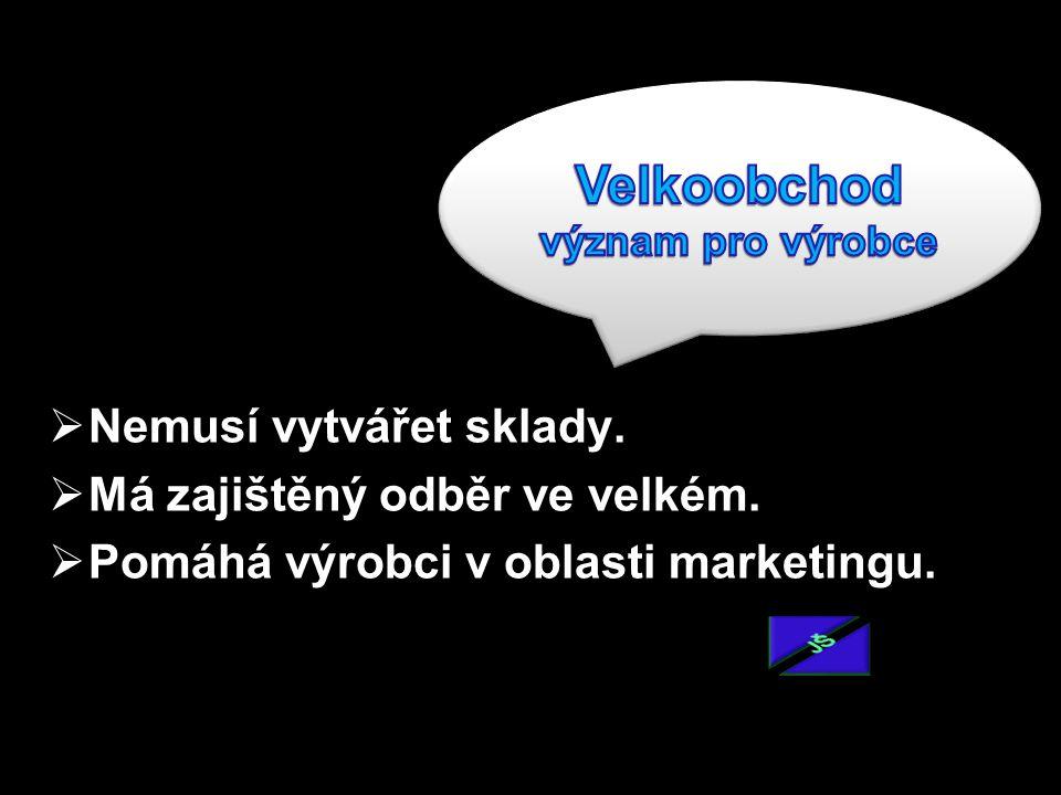  Nemusí vytvářet sklady.  Má zajištěný odběr ve velkém.  Pomáhá výrobci v oblasti marketingu.