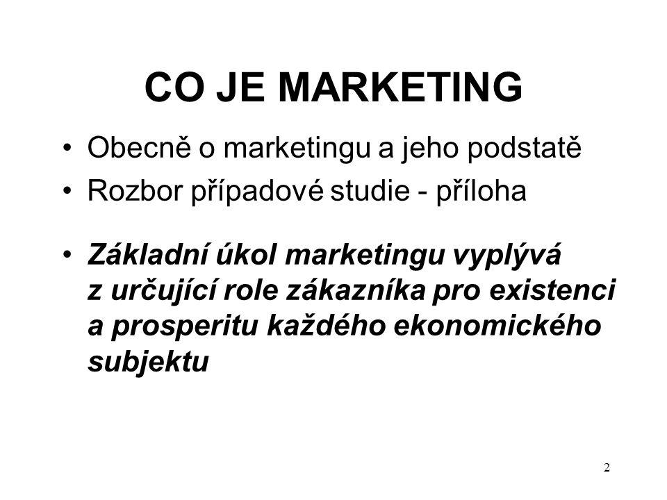 CO JE MARKETING Obecně o marketingu a jeho podstatě Rozbor případové studie - příloha Základní úkol marketingu vyplývá z určující role zákazníka pro existenci a prosperitu každého ekonomického subjektu 2