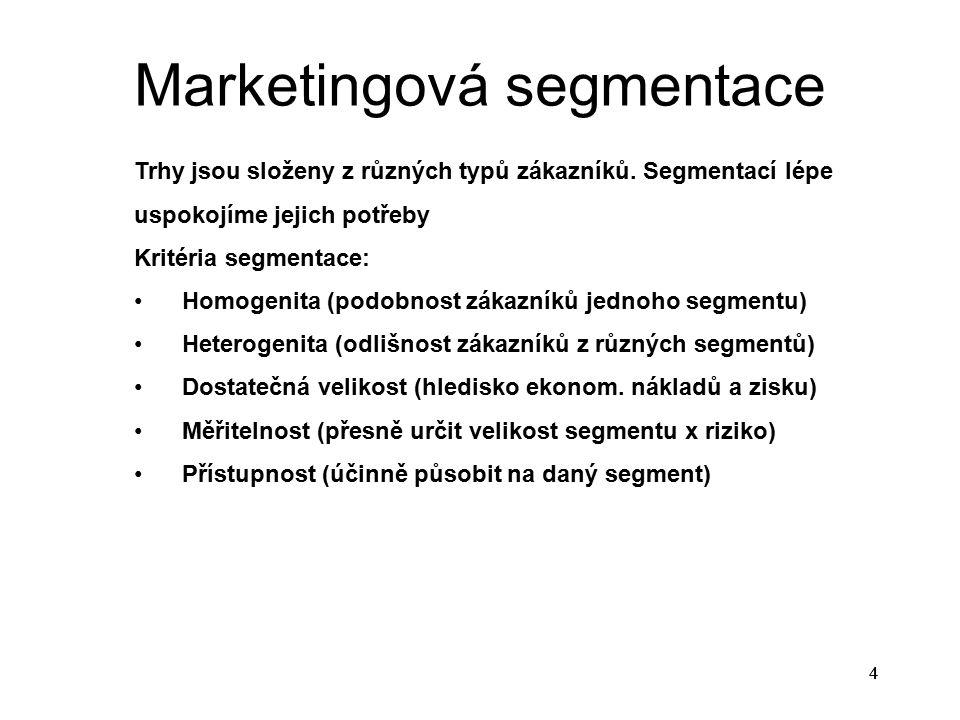 Marketingová segmentace 4 Trhy jsou složeny z různých typů zákazníků. Segmentací lépe uspokojíme jejich potřeby Kritéria segmentace: Homogenita (podob
