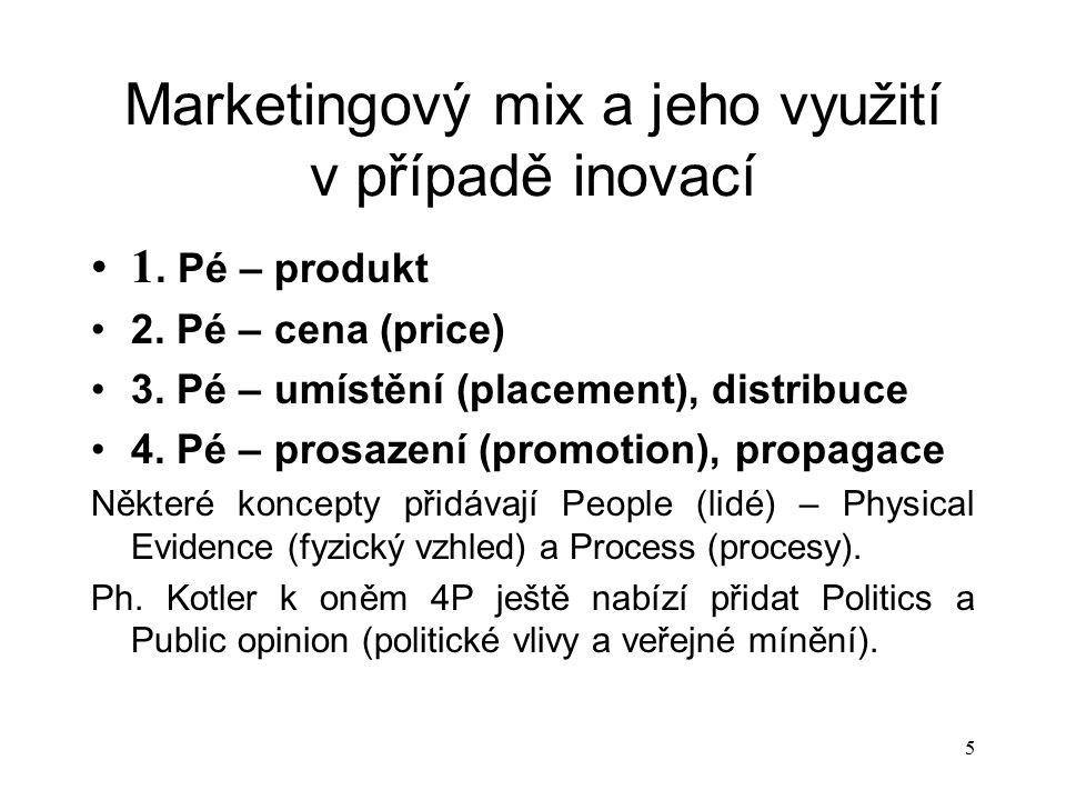 Marketingový mix a jeho využití v případě inovací 1. Pé – produkt 2. Pé – cena (price) 3. Pé – umístění (placement), distribuce 4. Pé – prosazení (pro