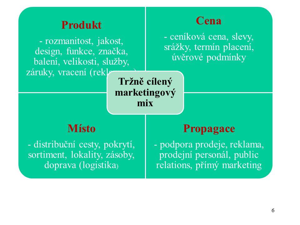 6 Produkt - rozmanitost, jakost, design, funkce, značka, balení, velikosti, služby, záruky, vracení (reklamace) Cena - ceníková cena, slevy, srážky, t