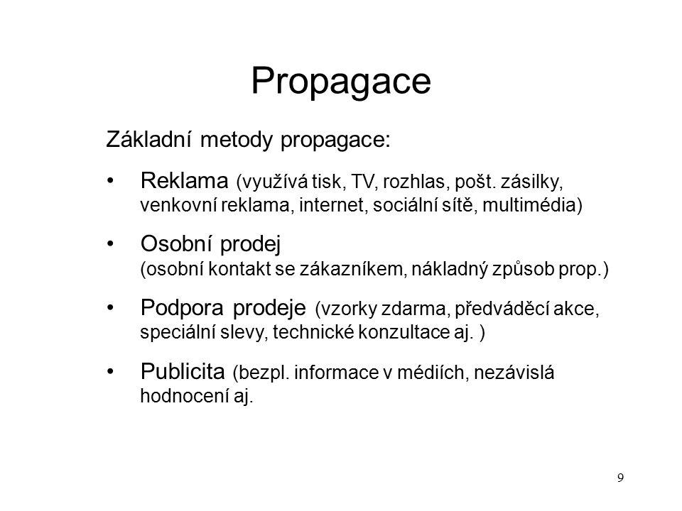 Propagace Základní metody propagace: Reklama (využívá tisk, TV, rozhlas, pošt. zásilky, venkovní reklama, internet, sociální sítě, multimédia) Osobní