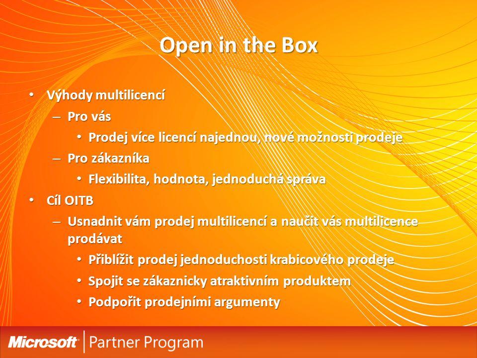 Open in the Box Výhody multilicencí Výhody multilicencí – Pro vás Prodej více licencí najednou, nové možnosti prodeje Prodej více licencí najednou, no