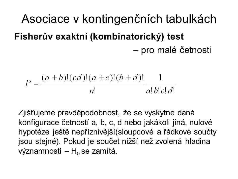Fisherův exaktní (kombinatorický) test – pro malé četnosti Asociace v kontingenčních tabulkách Zjišťujeme pravděpodobnost, že se vyskytne daná konfigu