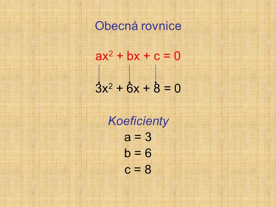 Obecná rovnice ax 2 + bx + c = 0 3x 2 + 6x + 8 = 0 Koeficienty a = 3 b = 6 c = 8