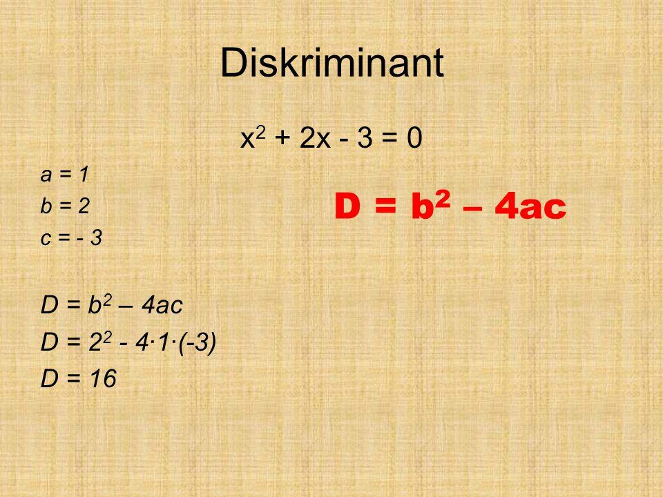 Diskriminant x 2 + 2x - 3 = 0 a = 1 b = 2 c = - 3 D = b 2 – 4ac D = 2 2 - 4·1·(-3) D = 16 D = b 2 – 4ac