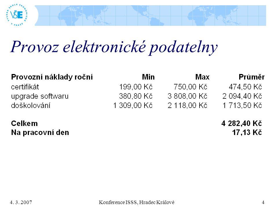 4. 3. 2007 Konference ISSS, Hradec Králové 4 Provoz elektronické podatelny