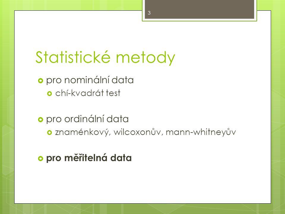 Statistické metody  pro nominální data  chí-kvadrát test  pro ordinální data  znaménkový, wilcoxonův, mann-whitneyův  pro měřitelná data 3